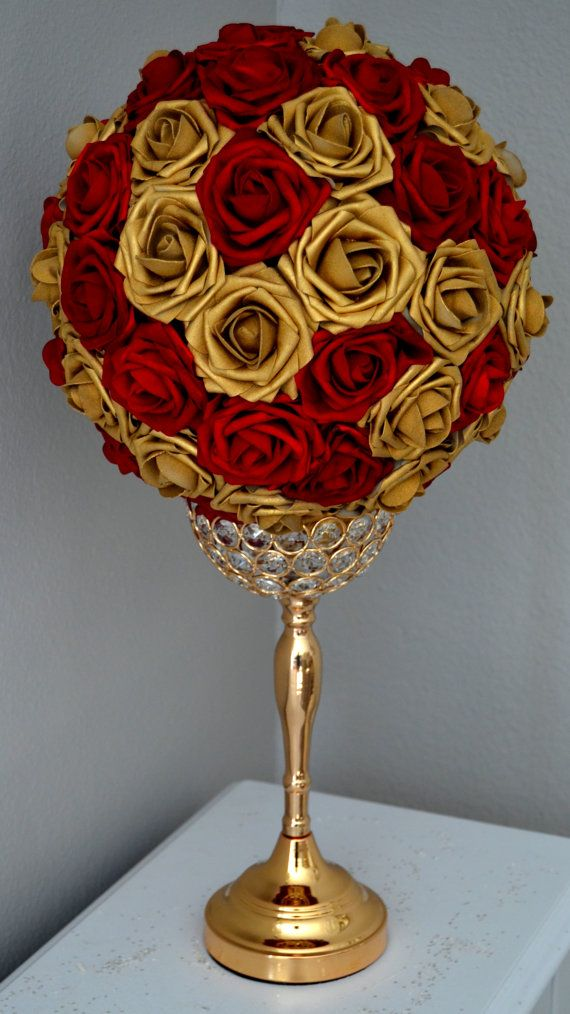 RED & GOLD Flower Ball. You will be amazed at how real and stunning ...