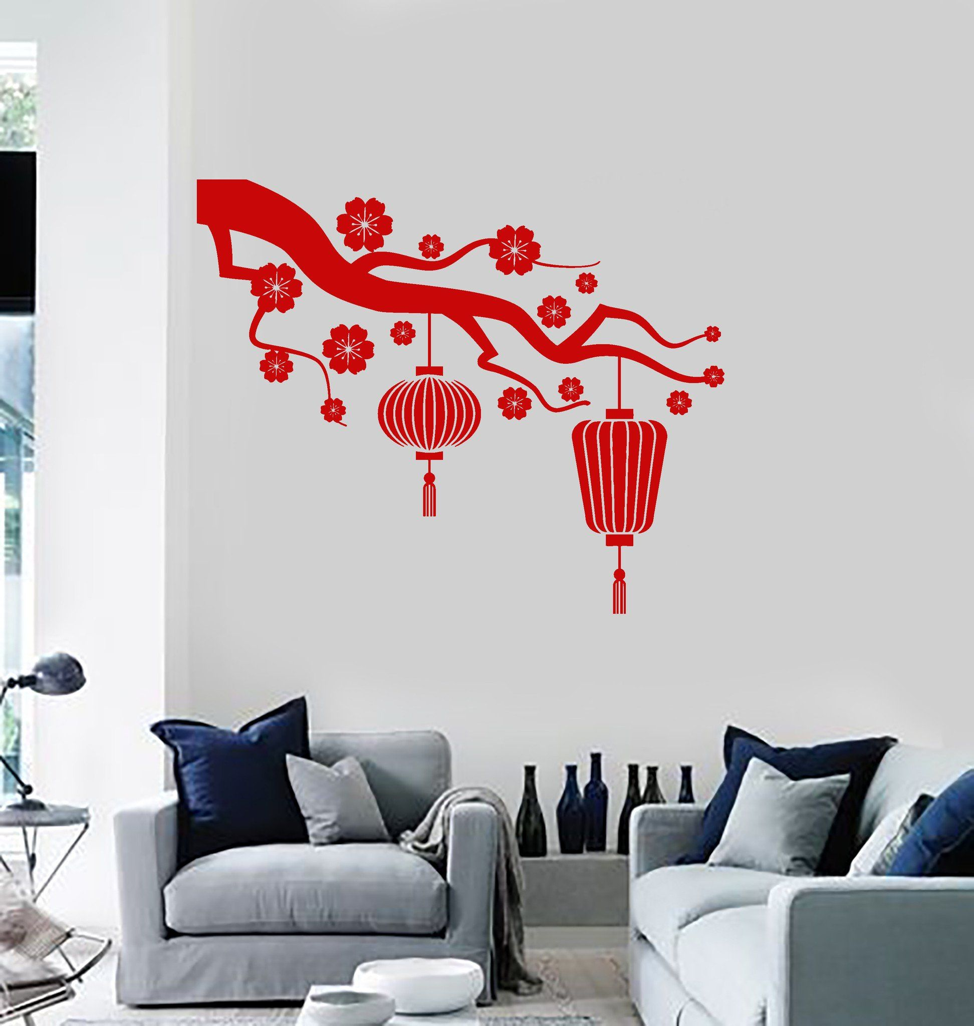 Vinyl Wall Decal Chinese Lamp Branch Oriental