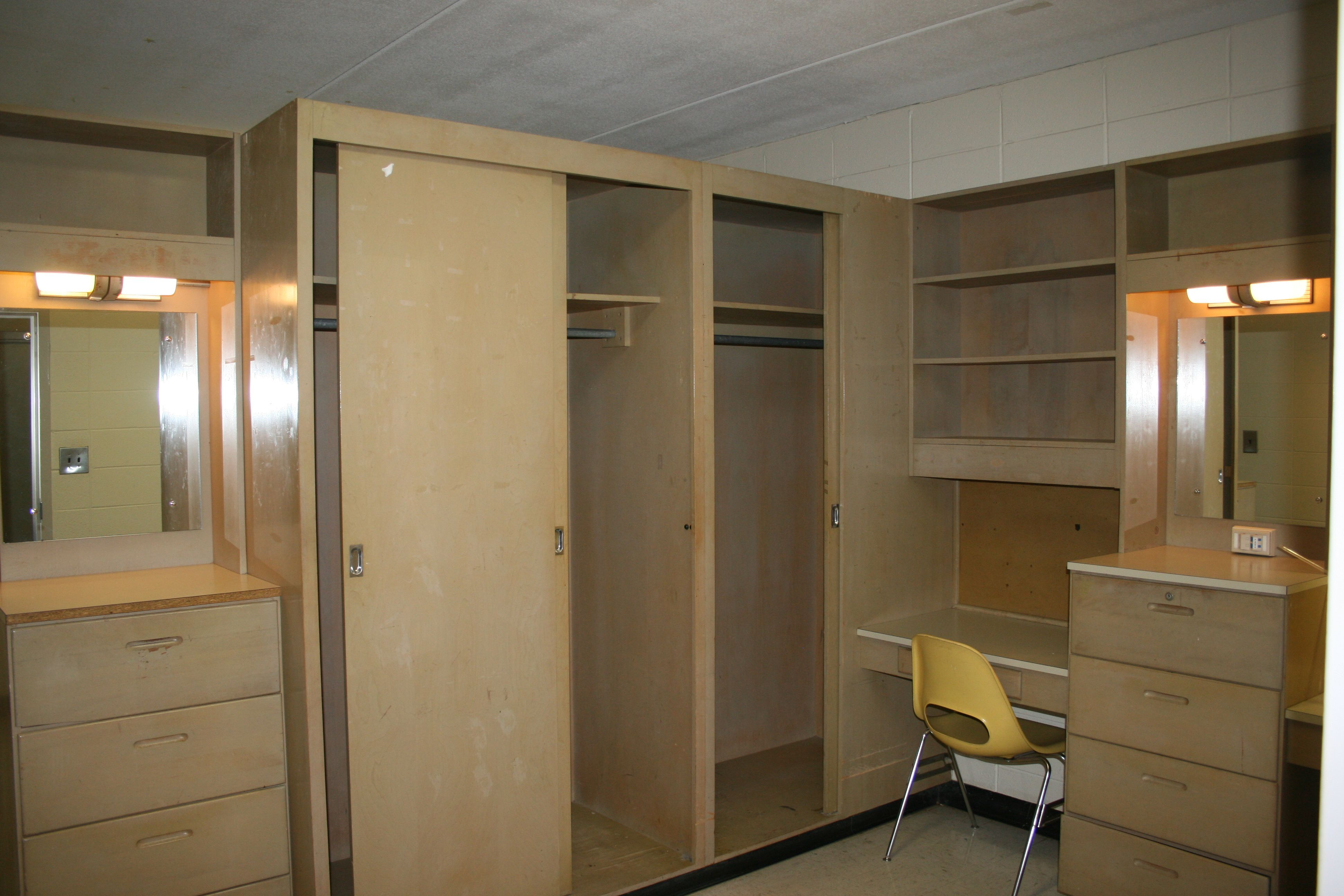 Study Area, Closets Etc At The Front Of The Dorm Room