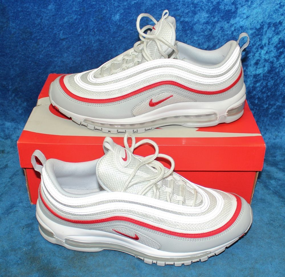 c4cb400aae Nike Air Max 97 OG Pure Platinum White/University Red AR5531-002 Size 10