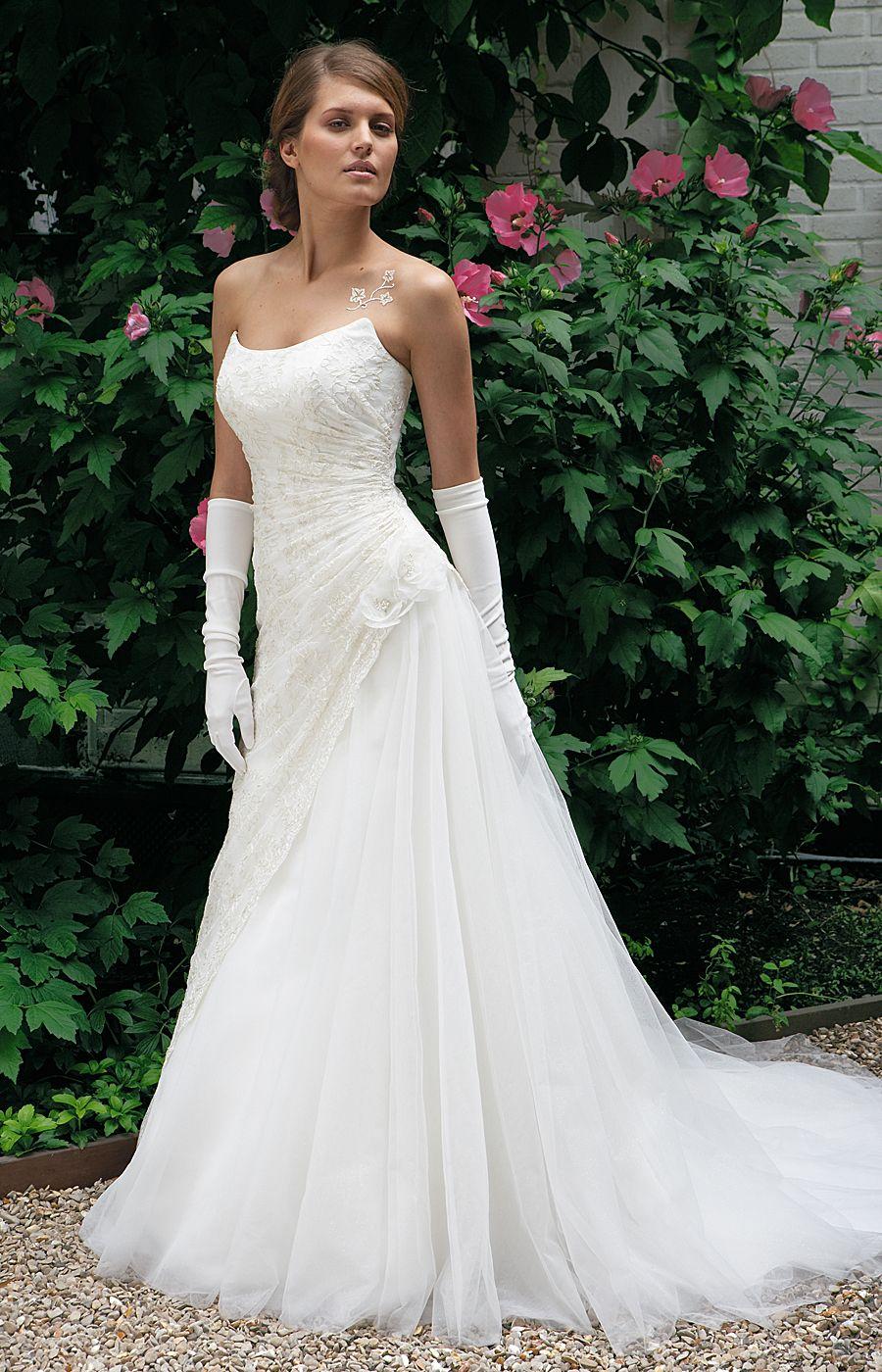 gans longs pour robe de mariée bustier