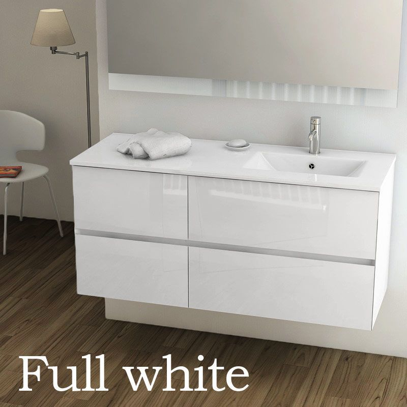 meuble salle de bain 121 cm blanc brillant vasque a droite kyoto l