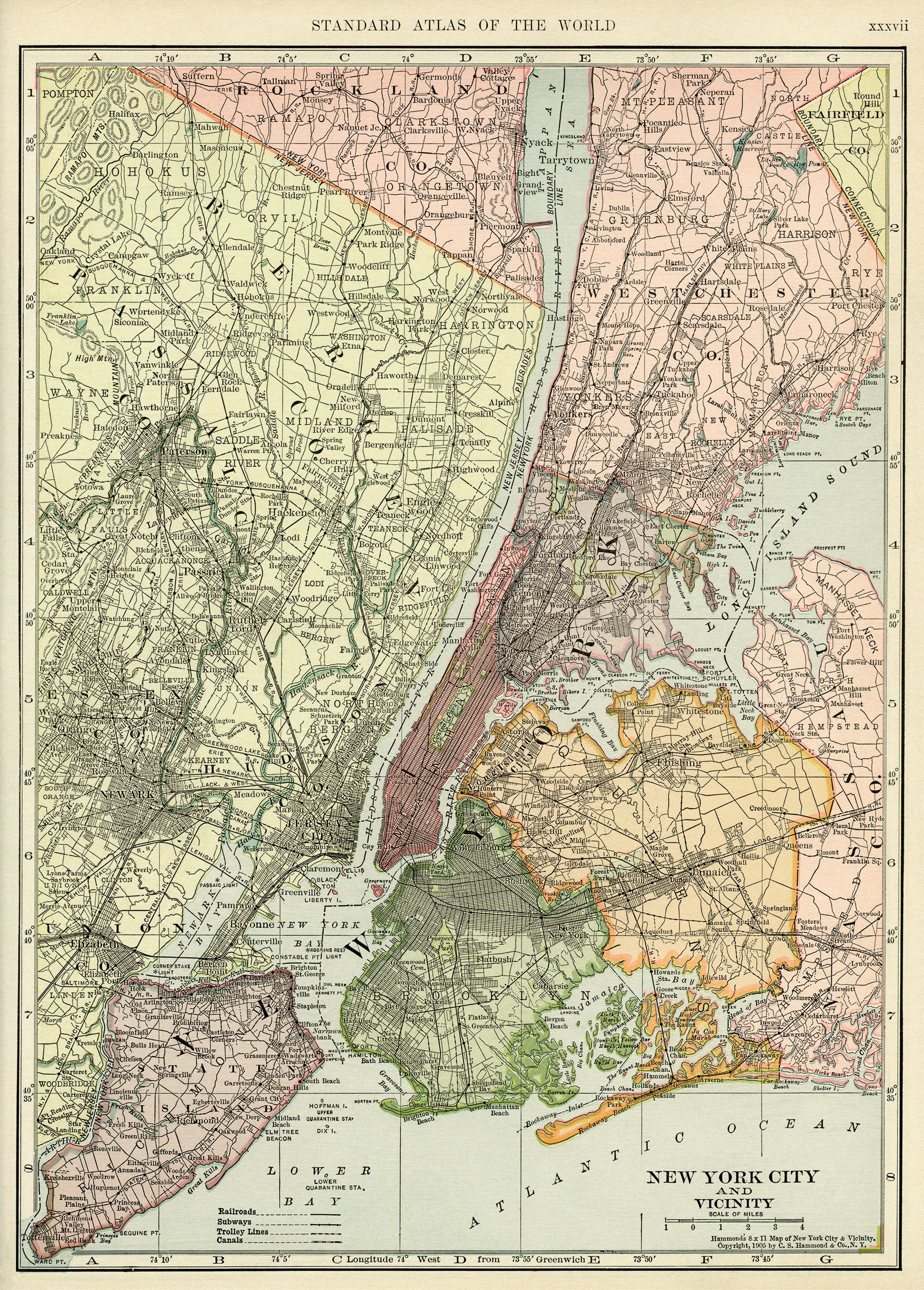 C S Hammond Map Antique Map New York City Map History - New york map geography