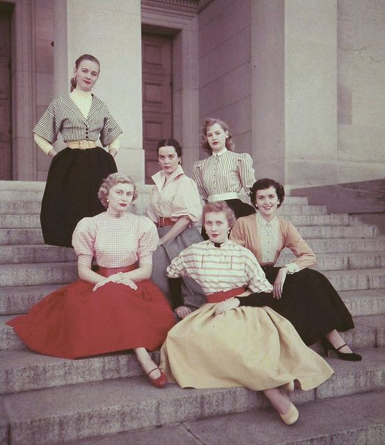 1950's teens all dressed for school to catch the of eyes of the boys!!!!
