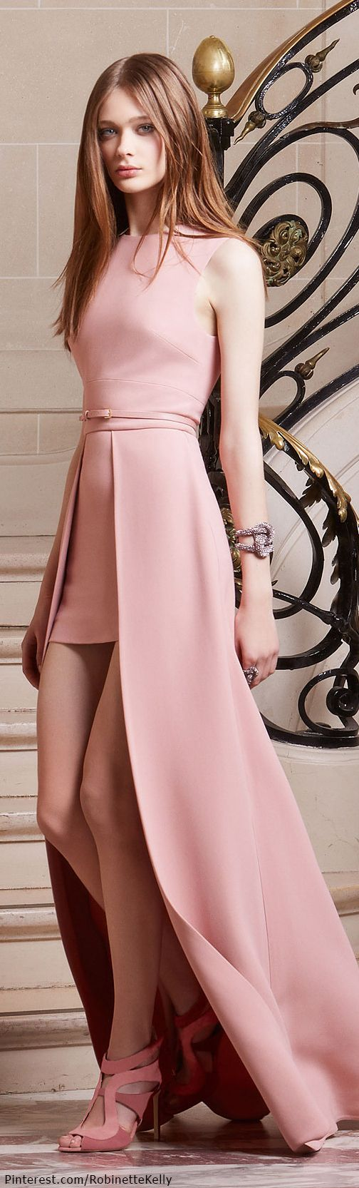 Pink cut out dress kim kardashian  Elie Saab  PreFall  I love how the staircase railing looks