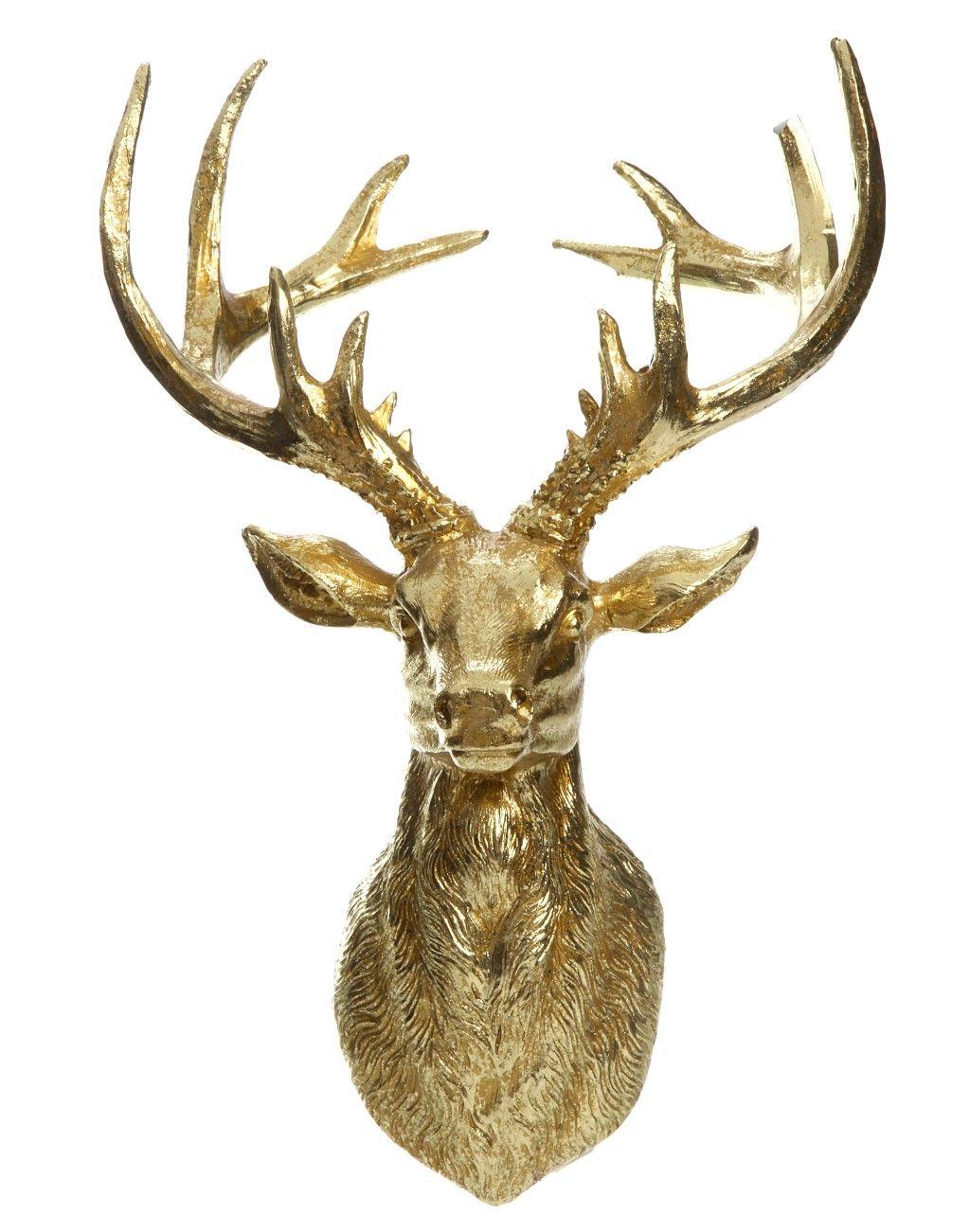 Elegant Imposante Dekoration Rustikale Atmosph re mit Gold berzug Der stylishe Hirschkopf bringt eine ausgefallene Note in Ihre