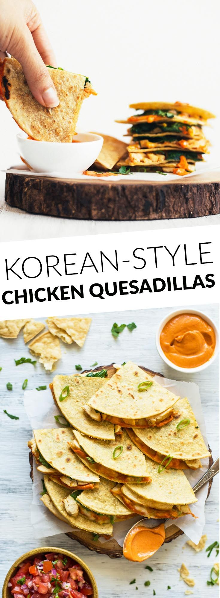Chicken Quesadillas with Gochujang Sauce Recipe (With