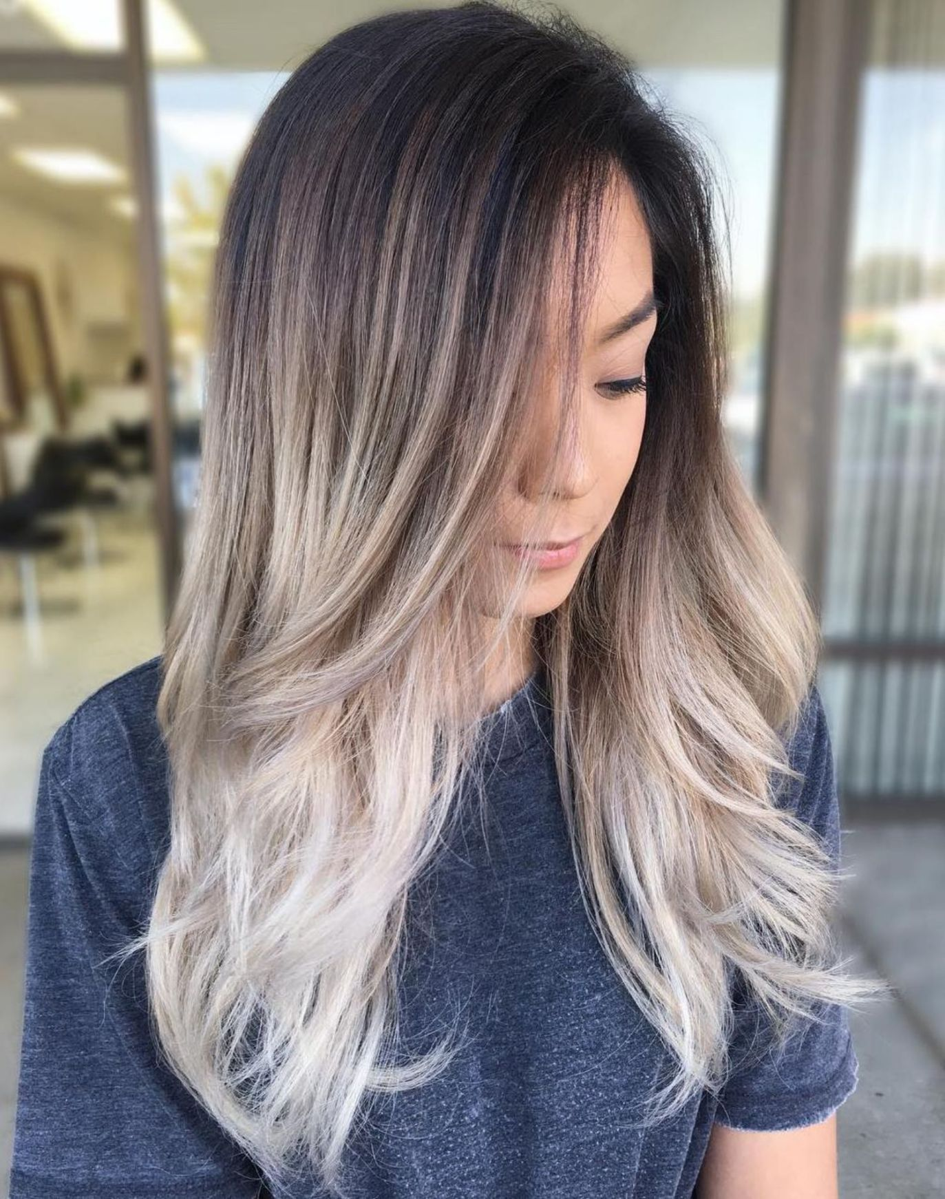Dark Brown Hair With Ash Blonde Ombre Balayage Brunette Ombre Hair Blonde Ash Blonde Balayage Dark
