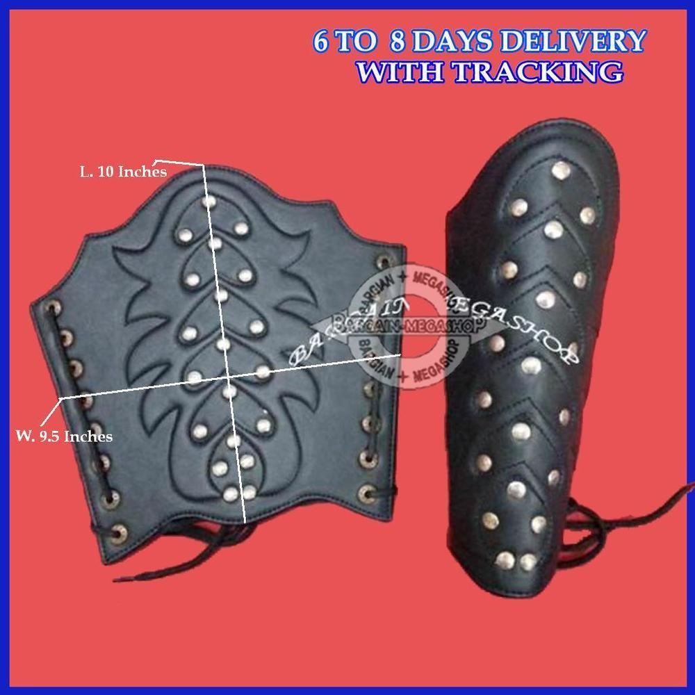 ROMAN LEATHER ARM GUARD BRACERS Metal Studs MEDIEVAL DRESS UP COSTUME ARMOR