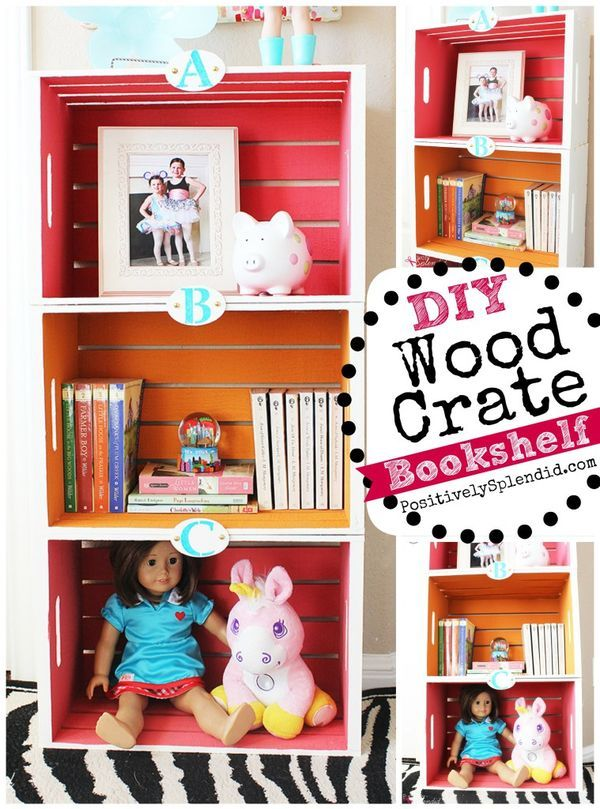 Diy Wood Crate Bookshelf Such A Smart Diy Decor Idea For Organization In A Kids Bedroom College Dorms Crate Bookshelf Crate Shelves Kids Diy Kids Furniture