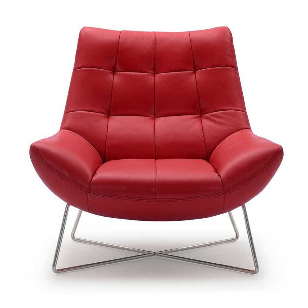 Medici Chair Red Leather Lounge Chair Modern Occasional