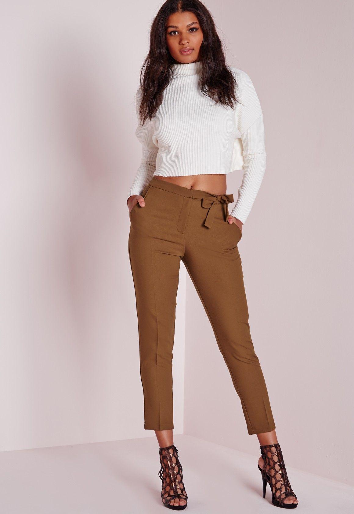 d25fe0bb0113 Missguided+-+Tie+Belt+Crepe+High+Waist+Pants+Brown | summer style ...
