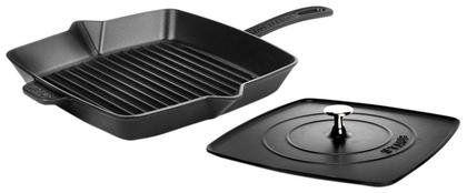 Staub Cast Iron Square Grill Pan Amp Press Set Matte Black 12 Quot Best Grill Pan Grill Pan