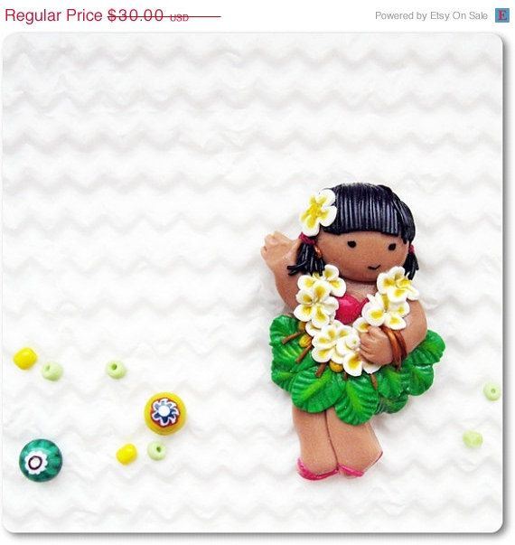 ON SALE Cute Little Brooch    Aloha  Hawaiian Girl with by IrenkaR, $26.70