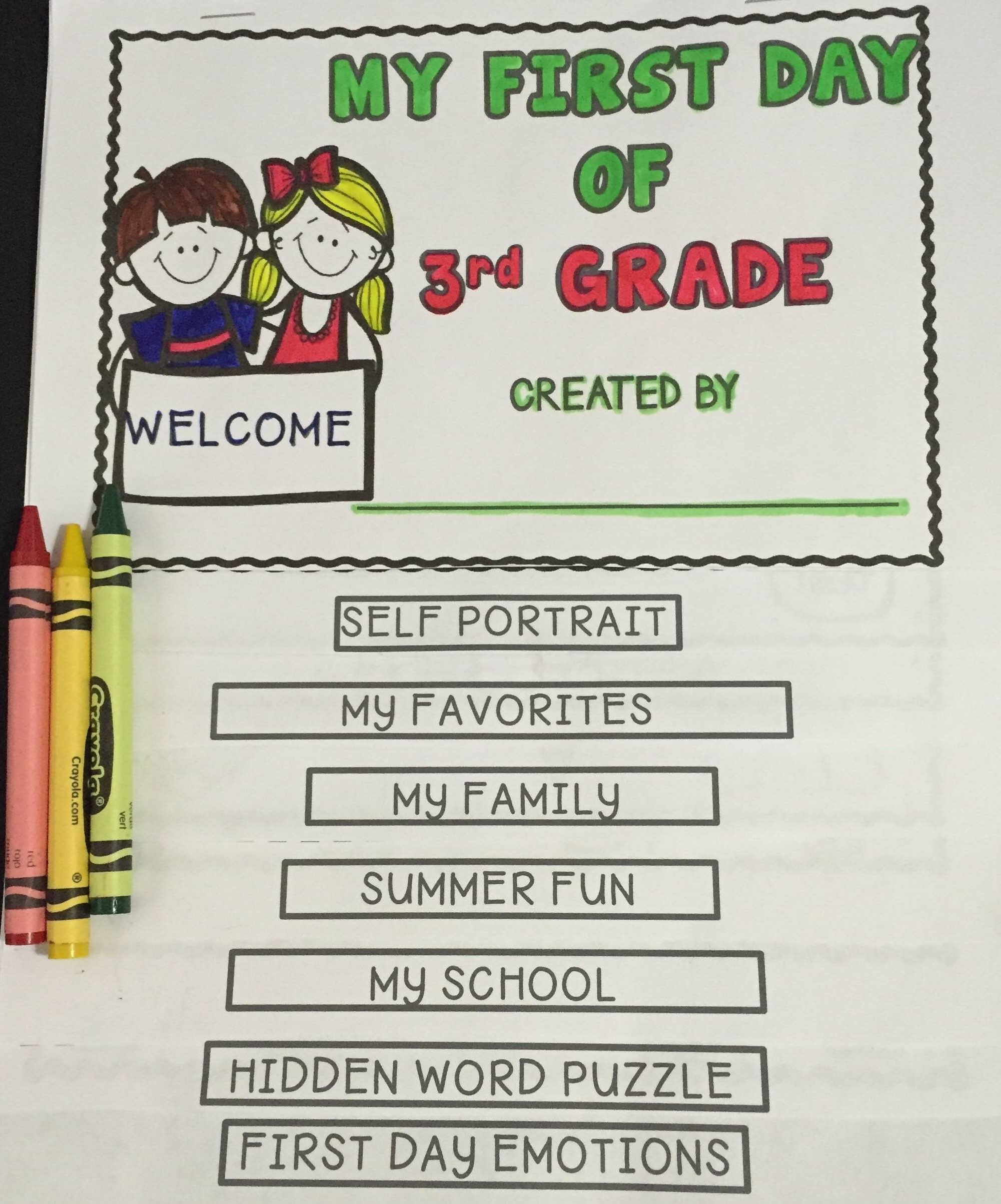 My First Day Of 3rd Grade Flip Book | Flip books, Flipping and ...