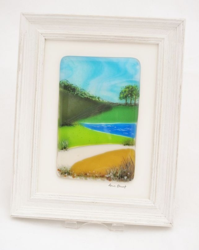 Framed fused glass - Riverside