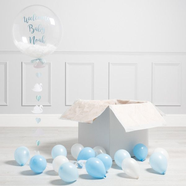 Personalised Swan Baby Blue Bubble Balloon - Shop All - Bubble Balloons - Inflated Balloons