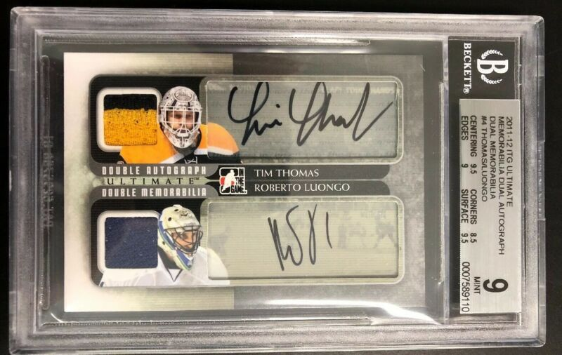Ultimate Dual Patch Auto Tim Thomas Roberto Luongo Bgs 9 9 Bruins