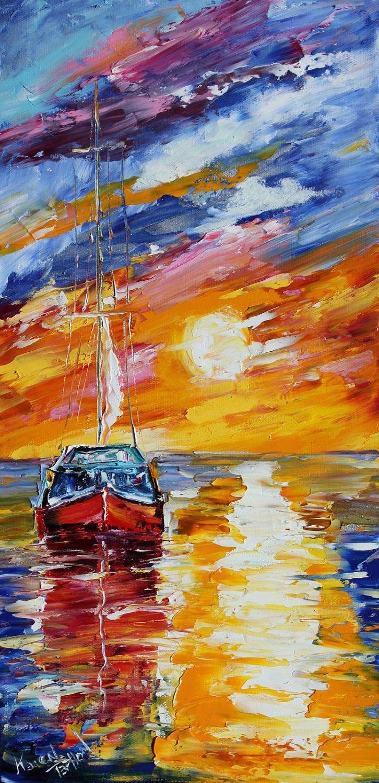 Original oil painting Sunset Sail Boat palette knife impressionism on canvas fine art by Karen Tarlton. $145.00, via Etsy.