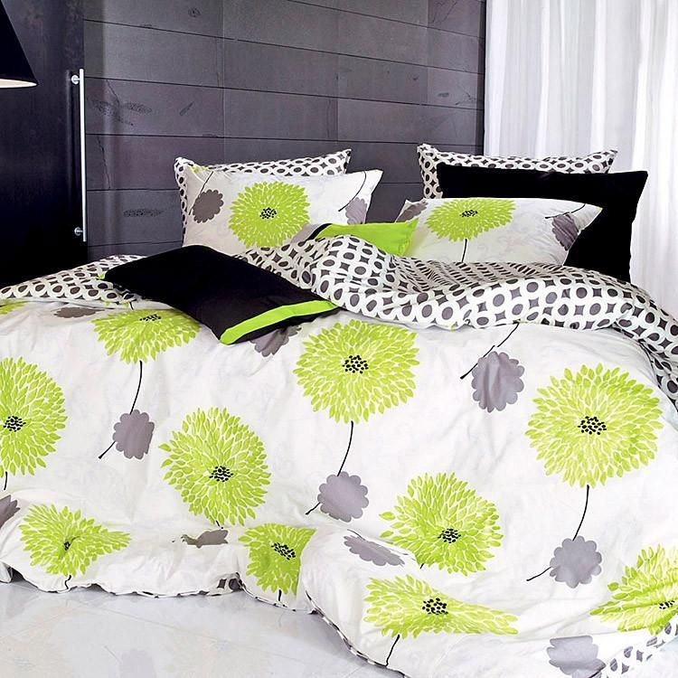Lime Green Floral Breathable Cotton Duvet Cover Set Green Bedding Lime Green Bedding Lime Green Bedrooms