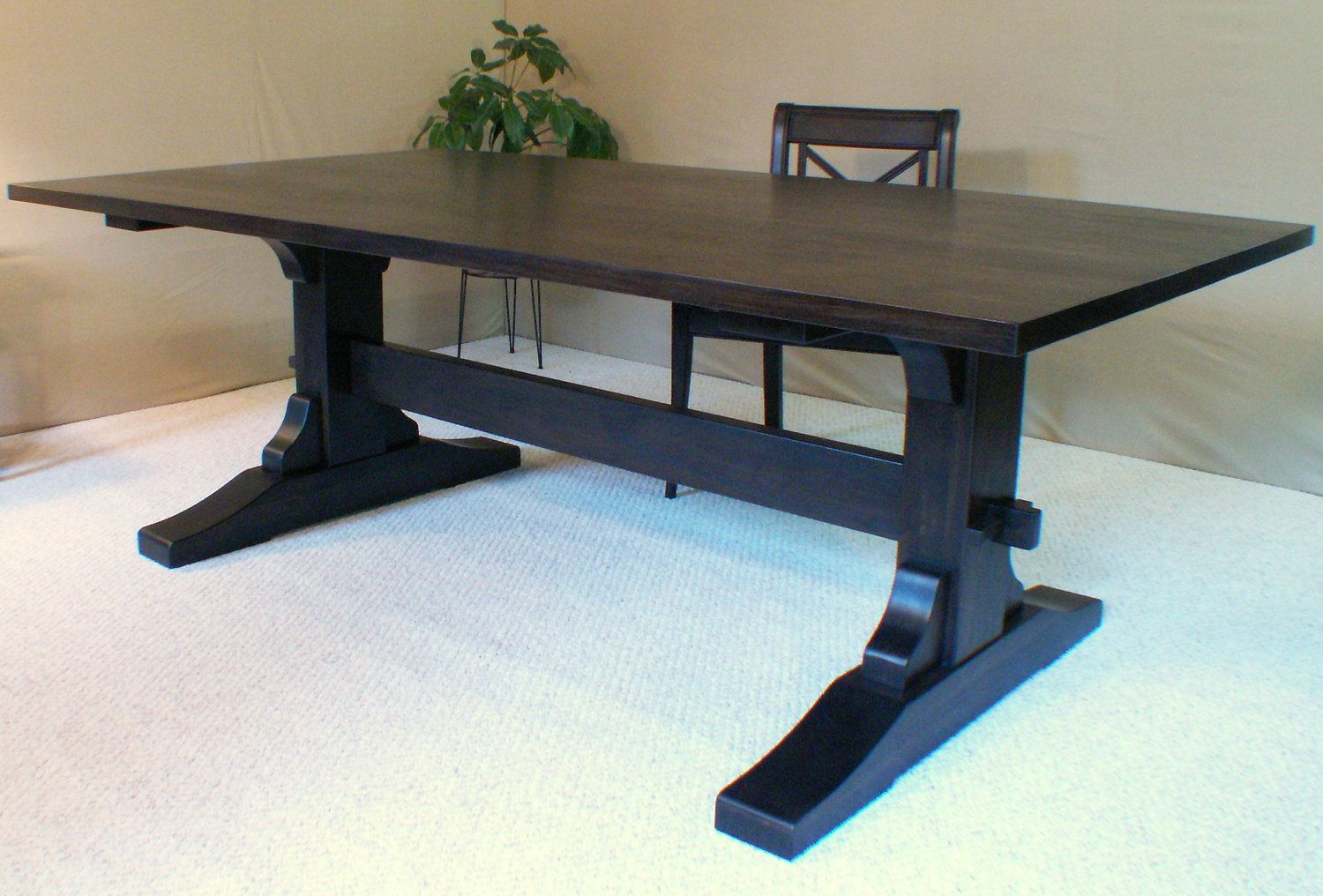 Wood dining table trestle table black walnut made in for Long dark wood dining table