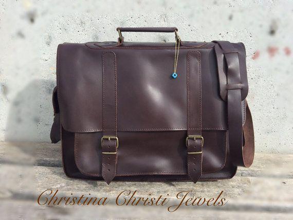 Laptop Bag Dark Brown Leather Briefcase 17 by ChristinaChristiJls