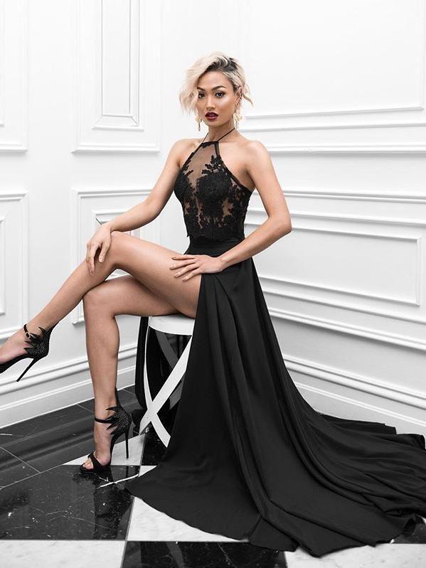 Two Piece Prom Dresses Halter A-line Sexy Prom Dress Black Evening ...