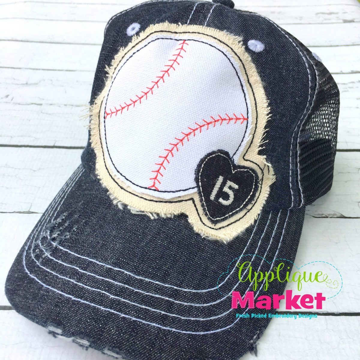 Baseball Small Heart Hat Patch Hat Patches Applique Designs Machine Embroidery Applique