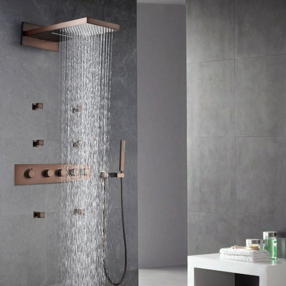 wallmount waterfall rain shower hand shower system with body spray jets in oil