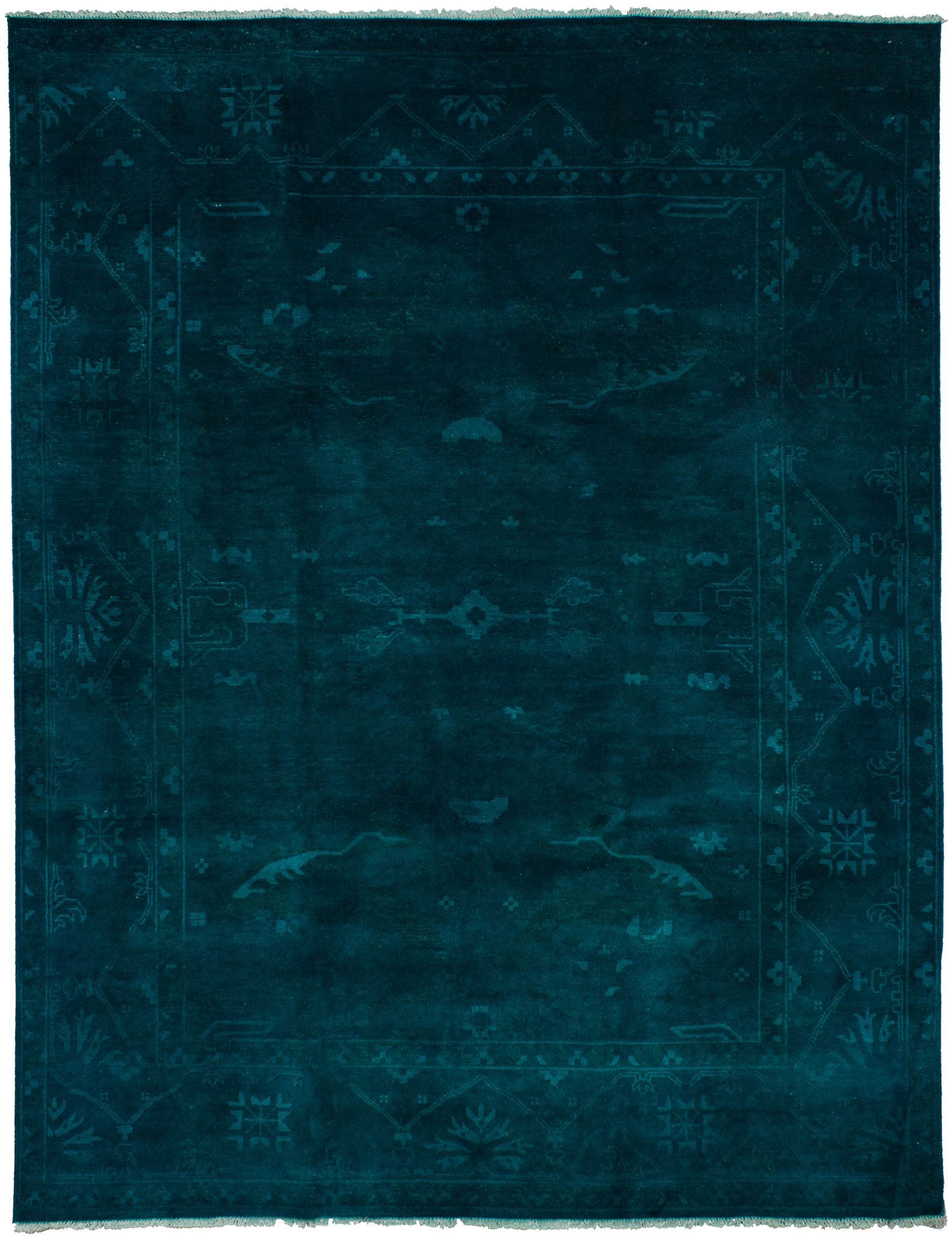 Hand Knotted Color Transition Dark Teal Wool Rug 9 3 X 11 10