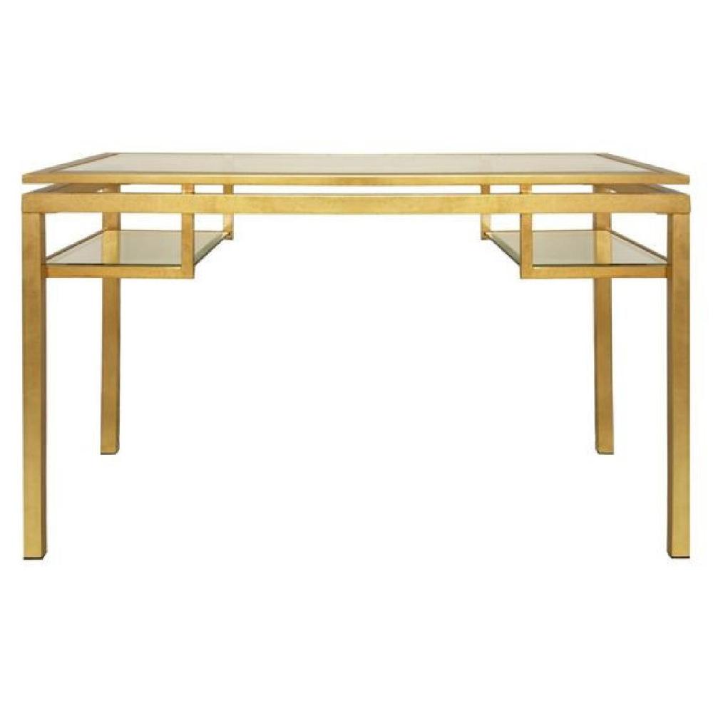 Worlds Away Brentwood Gold Leaf Glass Desk Aptdeco Glass Desk Glass Top Desk Beveled Glass