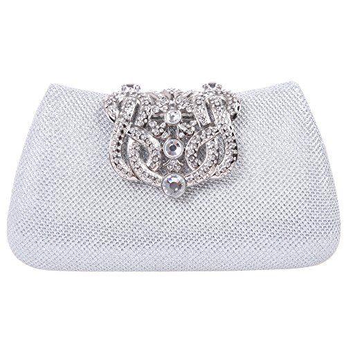Fawziya® Bling Glitter Purse For Girls Crown Box Clutch Evening Bags-Silver  Fawziya http a278492d1819