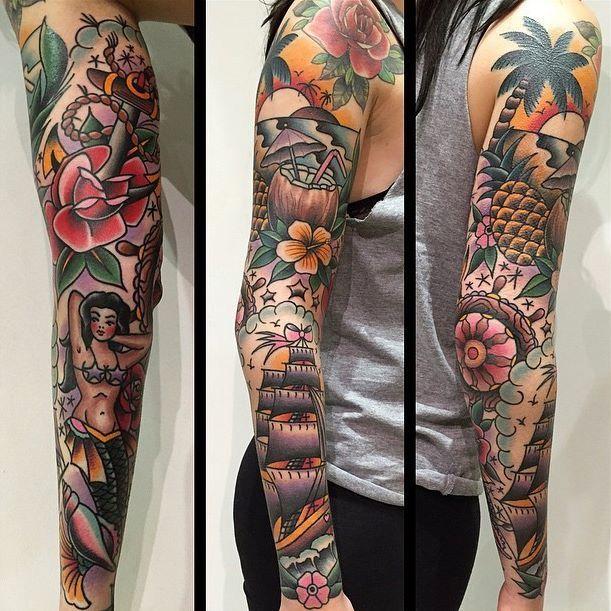 Pin By Jerred Helm On Tattoos Traditional Tattoo Sleeve Sleeve Tattoos Tattoos