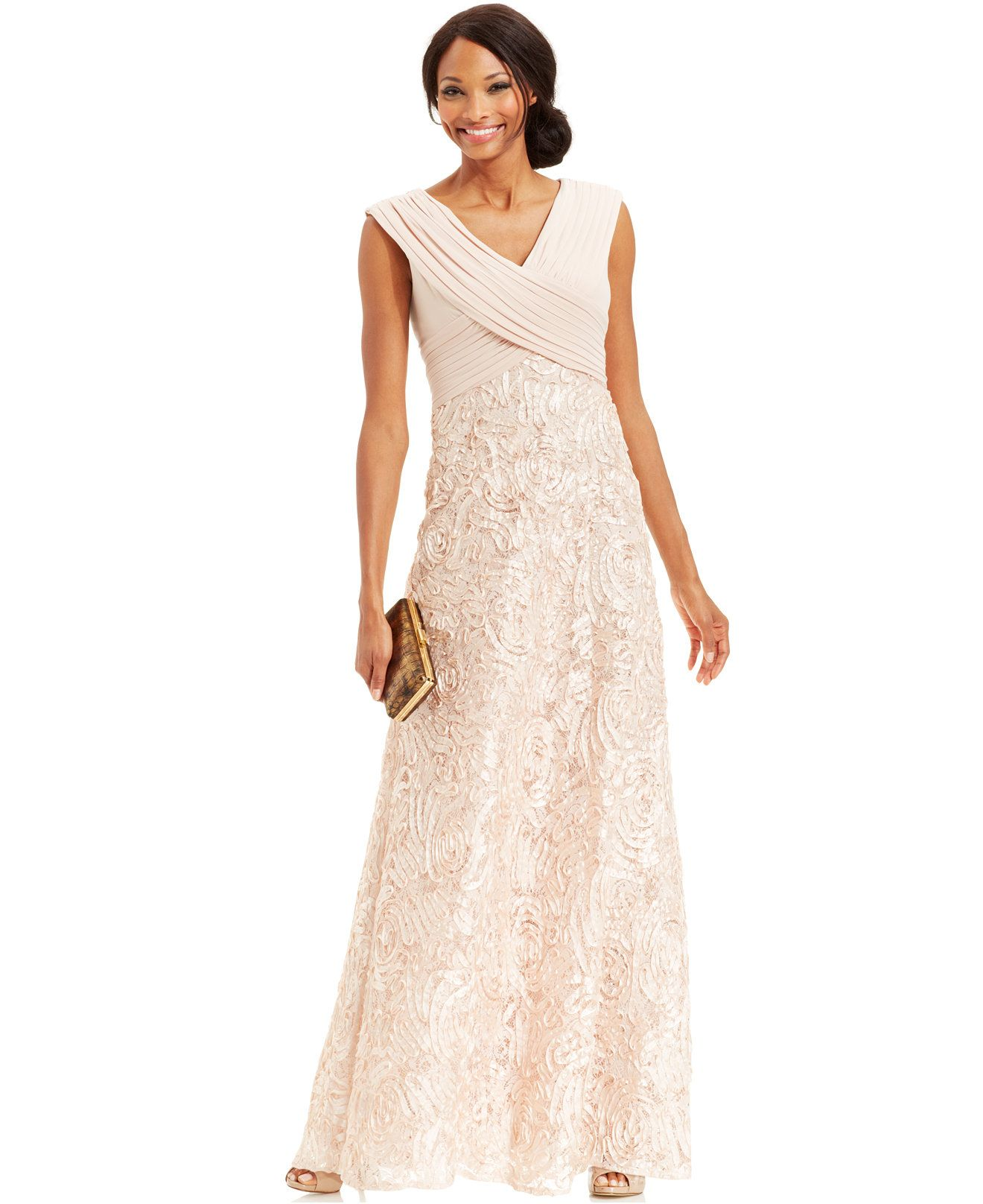 Patra Cap-Sleeve Sequin Embroidered Gown - Dresses - Women ...