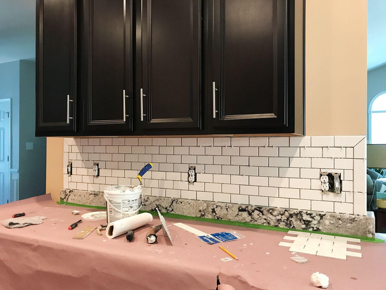 How To Install A Subway Tile Kitchen Backsplash White Subway