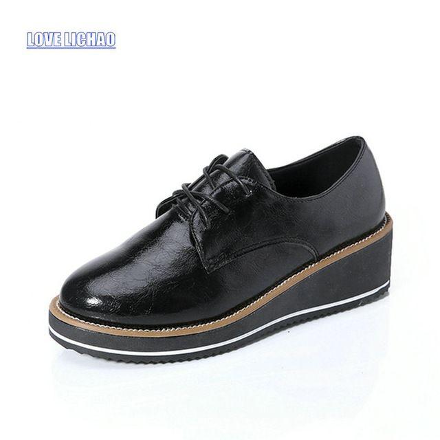 2016 Primavera Bullock Oxfords Zapatos Mujeres Plataforma Plana Zapatos Casuales Las Mujeres de Moda Zapatos de Las Señoras Zapatos de Mujer Sapatos Femininos
