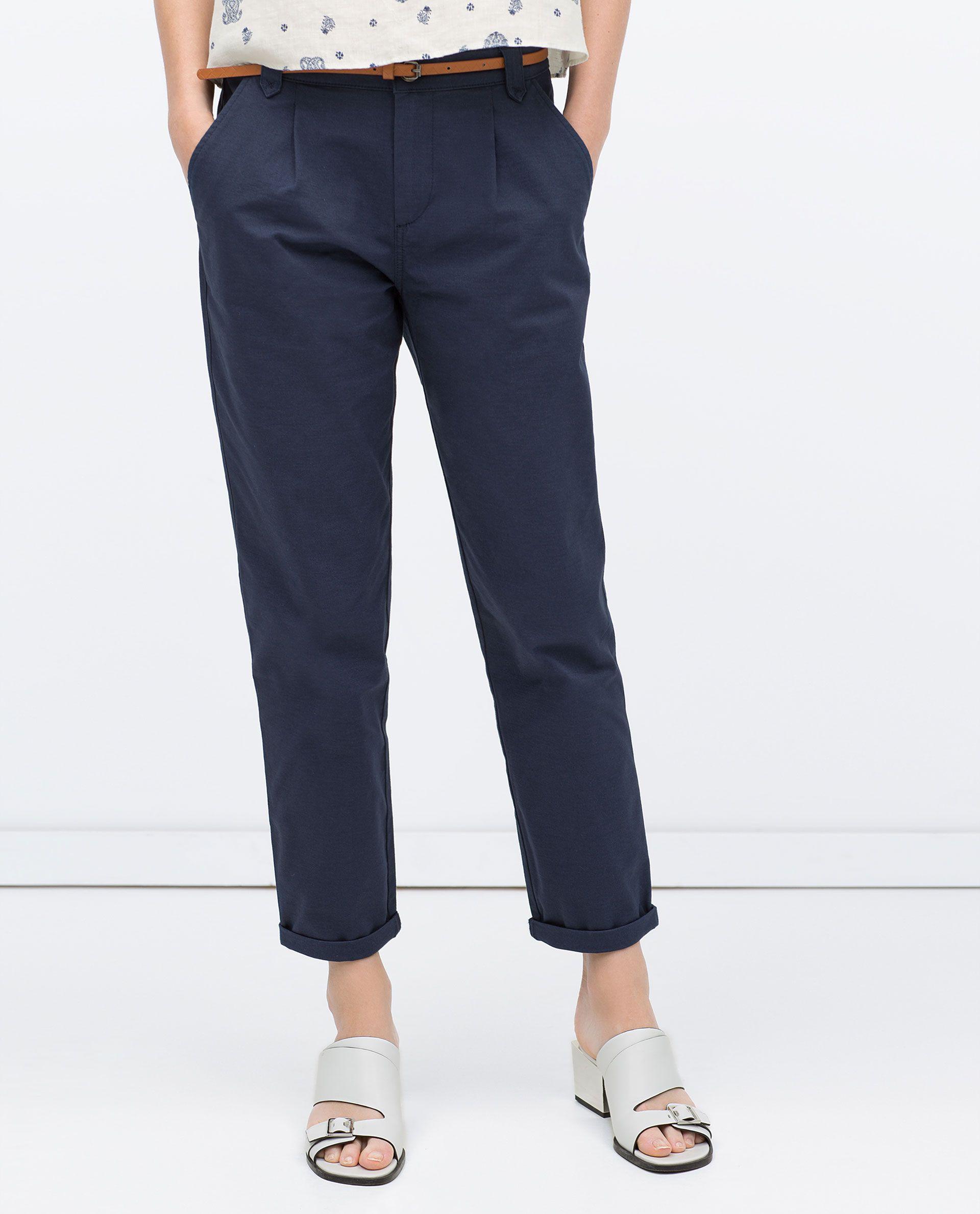 pantalon droit avec ceinture pinces pantalons femme. Black Bedroom Furniture Sets. Home Design Ideas