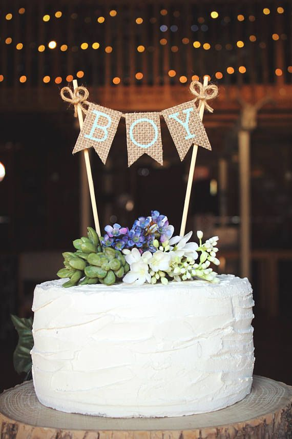 Boy Cake Topper Banner Sign Baby Shower