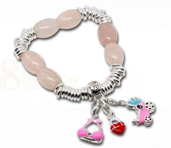 Handmade Rose Quartz Sterling Silver Imitation Sweetie Bracelet. Link Link Link