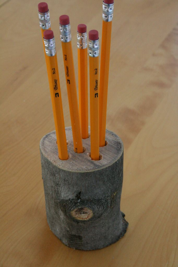 Cute! Outdoorsy themed branch pencil holder.