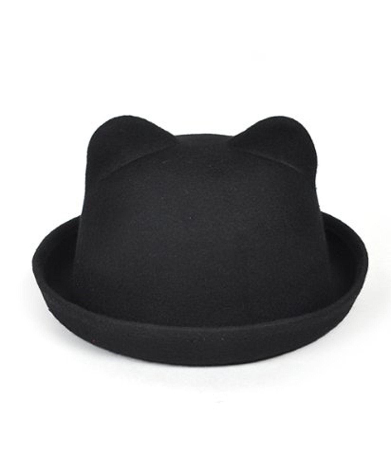ed585daa33efe7 Black Bear Ears Wool Bowler Derby Hat | Clothes | Bear ears, Ear ...