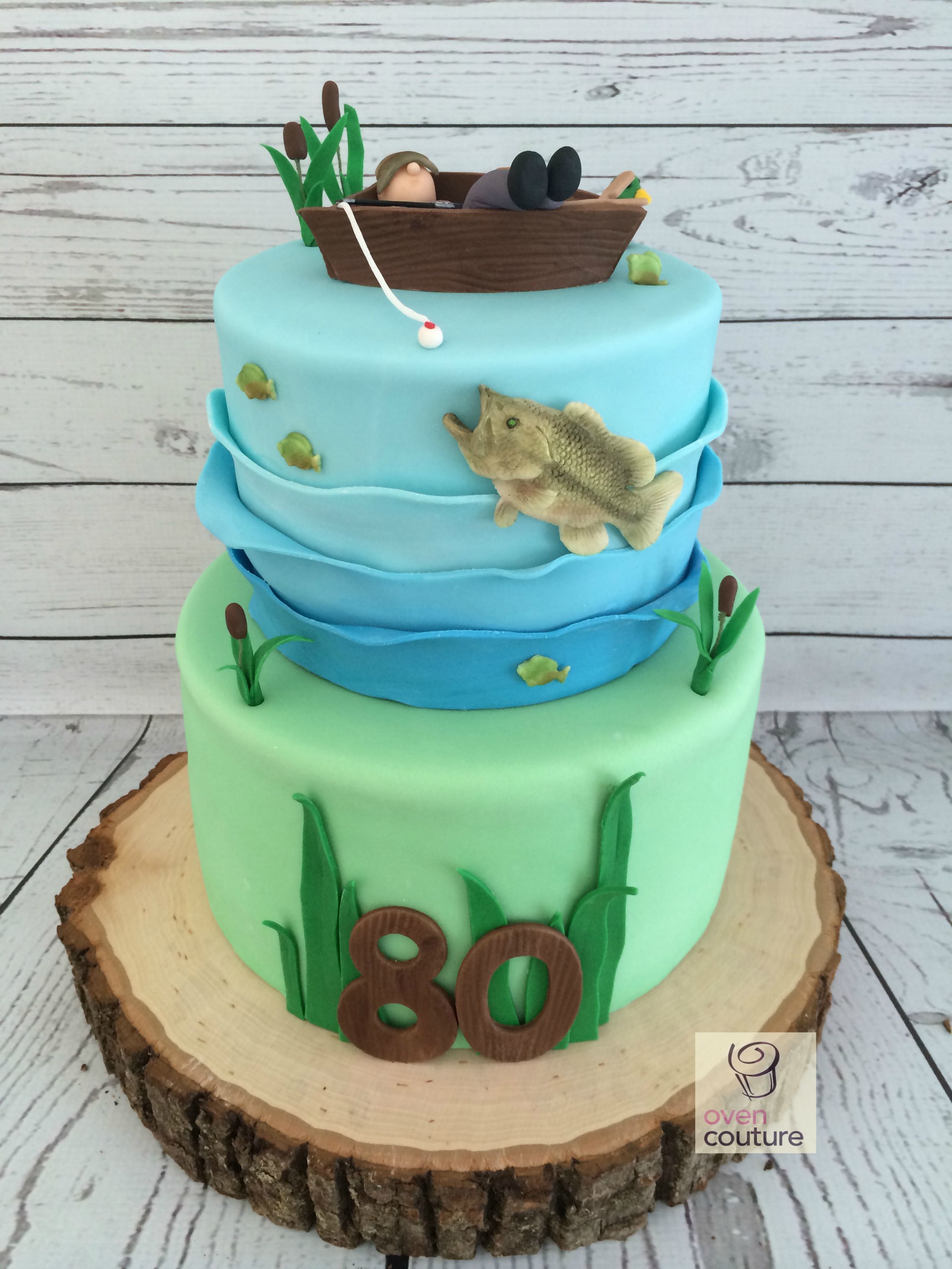 Fishing bass cake for 80th birthday for Fishing birthday cake