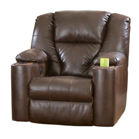 Home Solutions Brown Durablend Leather Power Home Theater Recliner