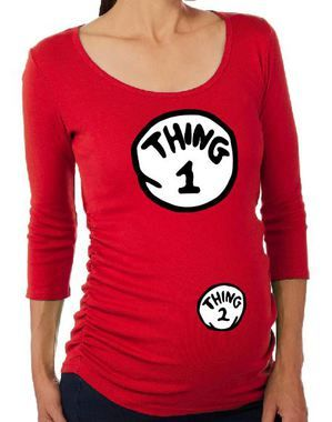 690f06a4 Maternity Halloween Costume T-Shirt Dr. Seuss Cat In The Hat Thing 1 and  Thing 2 Shirt