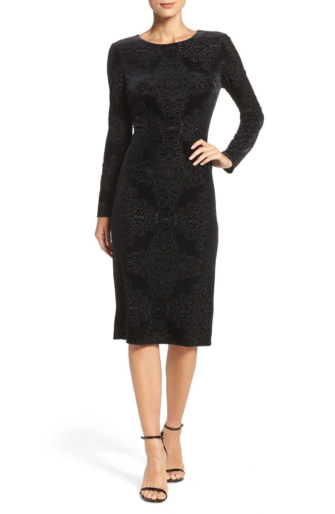 Maggy London Burnout Velvet Sheath Dress (Regular