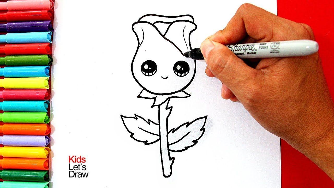 Aprende A Dibujar Y Pintar Una Rosa Kawaii Muy Facil How To Draw A Cute Rose Youtube Dibujo De Rosa Facil Dibujo De Rosa Como Dibujar Rosas