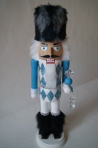 Glittery Blue and White Harlequin Nutcracker by monhoss135 on Etsy, $80.00
