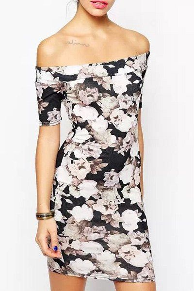 Women's Chic Print Short Sleeve Slash Neck Dress