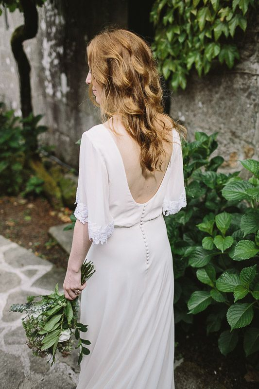Kimono Sleeve Wedding Dress With Beach Boho Waves Spanish Destination Outdoor Ceremony