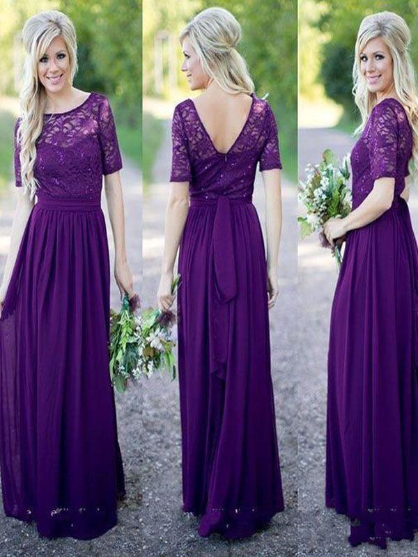 Purple Lace bridesmaid dress, Half sleeve bridesmaid dress, Floor ...
